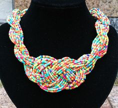 Colorful Beads Braided Knot Statement Necklace by Favormaking, $20.00