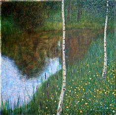 Unknown Klimt resurfaced.---------------------             Klimt, Gustav  (Austrian, 1862-1918) - Bank of a Lake with Birches  - 1901 | by *Huismus