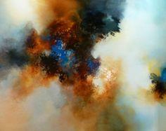 """Groot Abstract olieverfschilderij door kunstenaar Simon Kenny """"Filosofie"""""""