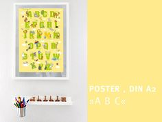 ABC Poster Kinderzimmer Schulanfang von diefrizzles auf Etsy