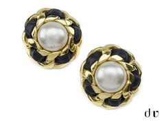 Chanel Vintage Pearl & Leather Earrings