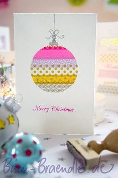 こちらはクリスマスのオーナメントをモチーフに。マステで円を描くだけのアイデアなのに、とってもおしゃれ。 クリスマス