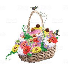 basket of flowers royalty-free stock vector art