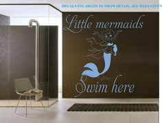 LITTLE MERMAIDS SWIM HERE BATHROOM 3 WALL ART STICKER XLRG VINYL DECAL