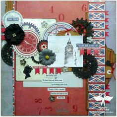 Time Flies by Dana Tatar - Paper Wings Productions June Chipboard/Wood Veneer Challenge - Creative Embellishments Steampunk Clocks + PWP London, Perfect Numbers stamp sets.