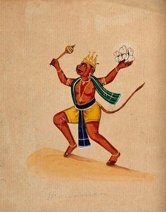 Hanuman. Gouache drawing.