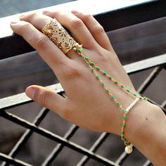 Slave Chain Bracelet. Domed Filigree Plate Ring. Indian Bridal Hand Bracelet. Pearl link. Green Beaded Chain. Gifts for her. Festive Gift