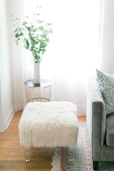 a chic fur and lucite stool | Design by Manderley Design Co. -  http://www.manderleydesignco.com/ | Photography: Matthew Land Studios - http://www.matthewland.com/
