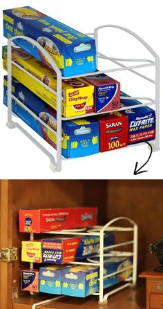Kitchen Wrap Storage Organizing Idea and holder -- A ton of easy and cheap organization and storage ideas for the home (car too! A lot of these are really clever storage solutions for small spaces, bedrooms, bathrooms, closets, kitchens and apartments. Organisation Hacks, Kitchen Organization, Kitchen Storage, Storage Organization, Storage Ideas, Kitchen Wrap, Ideas Para Organizar, Declutter Your Home, Getting Organized