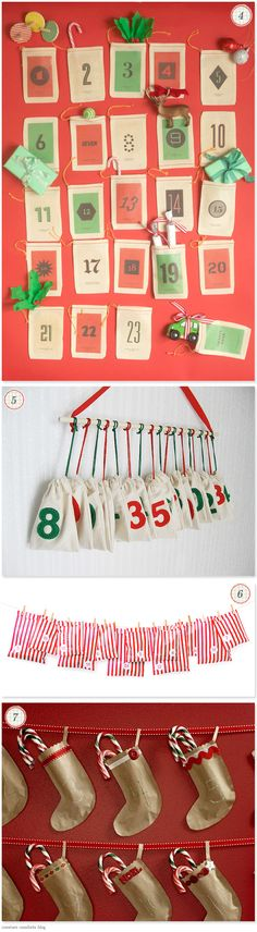 Advent Calendar ideas (I think i'm going to use the sewn brown paper package and hang ours from the Christmas tree this year!)