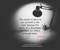 The secret to life is to put yourself in the right lighting. Quote by Susan Cain.