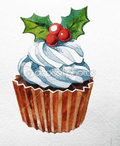 Рождественский кекс с Холли Берри. растровые Акварельные иллюстрации. традиционный вкусный рождественский десерт. Рождественские Винтаж ретро еда