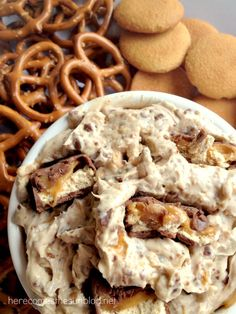 This Snickers Dip recipe uses only 4 ingredients and is super easy to make. #Chocolate4TheWin #shop