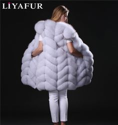 LIYAFUR Real Genuine Long Natural Thick Blue Fox Fur Sleeveless Vest Winter Full Pelt Fur Gilet Waistcoat for Women #Affiliate