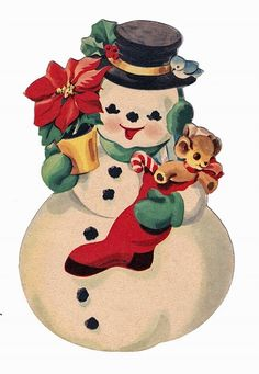vintage snowman image by ShelliHurlocker  Omg, I painted this exact card years ago! #windowpainting