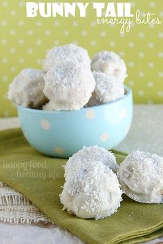 Bunny Tail Energy Bites. That's right - cute enough for your kiddos to beg for. Yet packed full of the nutrients you're gonna feel good about as a mama! www.happyfoodhealthylife.com