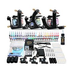 Professional Tattoo Kit 3 Top Machines 54 Color Inks Power
