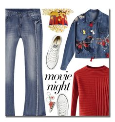 """""""Bring the Popcorn: Movie Night"""" by justkejti ❤ liked on Polyvore featuring Converse and Love Moschino"""