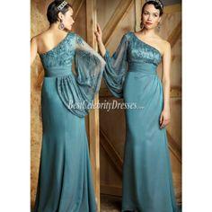 Formal Evening Dresses | One shoulder green long sleeve chiffon beaded prom dress formal