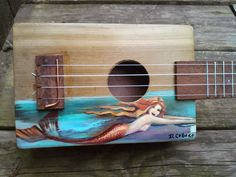custom order. hand made cigar box pocket ukulele, solid cedar sound board, hand-painted mermaid, music box sound. great novelty gift!