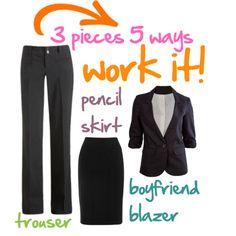 3 Pieces > 5 ways to work it - dressy business attire