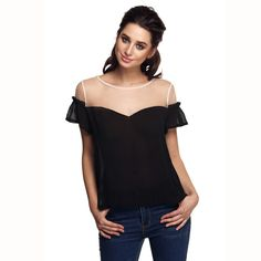 Finejo Plus size XXL T-shirt Women Mesh Chiffon Patchwork Short Ruffles Sleeve Loose Shirt Tops 31