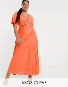 Buy ASOS DESIGN Curve twist detail pleated kimono Maxi dress at ASOS. Get the latest trends with ASOS now. Mori Lee Wedding Dress, Top Wedding Dresses, Plus Size Dresses, Plus Size Outfits, Plus Size Womens Clothing, Clothes For Women, Winter Dresses, New Dress, Wrap Dress