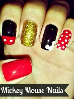 Glittering Mickey Mouse Nails