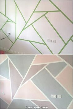 Geometric Mural: interior design is so sublime color . : Geometric Mural: interior design is so sublime color . Bedroom Wall Designs, Room Ideas Bedroom, Bedroom Decor, Kids Bedroom Paint, Geometric Wall Paint, Tape Wall Art, Room Wall Painting, Triangle Wall, Paint Designs