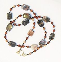 Red Marble and Red Onyx Beaded Eyeglass Chain Office by nonie615, $30.00
