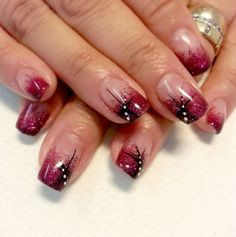 Micaela created these nails using Light Elegance Glitter Gel in the beautiful new shade, Crimson.