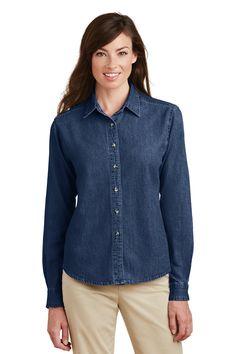 f032b2cab7b Ladies Custom Embroidered Value Denim Shirt