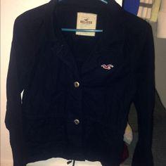 Hollister jacket medium hollister navy blue jacket it feels like nylon but is cotton material used once Hollister Jackets & Coats