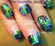 Nail-art by Robin Moses geometric blue and green http://www.youtube.com/watch?v=zLr_LEMJ6Uc