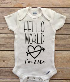 A personal favorite from my Etsy shop https://www.etsy.com/listing/521644569/hello-world-onesie-hello-world-newborn