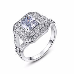 New Trendy Silver Rings White Gem Stone Princess Cut CZ Crystal Paved Engagement Party Finger Ring Jewelry For Women Wedding