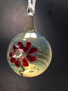 Hand Blown Glass Hummingbird Feeder by JABGLASSART on Etsy, $25.00