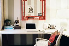 Work Space design ideas and photos to inspire your next home decor project or remodel. Check out Work Space photo galleries full of ideas for your home, apartment or office. Cool Office, Office Decor, Office Ideas, Future Office, Office Chic, Office Suite, Small Office, Bedroom Office, Kids Bedroom