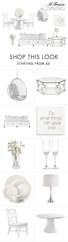 """""""All White Dining"""" by constellationz ❤ liked on Polyvore featuring interior, interiors, interior design, home, home decor, interior decorating, H&M, Ralph Lauren, Michael Aram and alfrescodining"""
