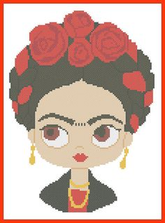 BOGO FREE Frida Kahlo Modern original cross stitch pattern