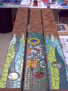 Clarey has lots of experience in community arts. Here are some totem poles, now installed in a park in SW Burnley, that Clarey worked on with Action Factory Community Arts Ltd. Wood Mosaic, Mosaic Art, Mosaic Glass, Mosaic Tiles, Glass Art, Stained Glass, Mosaic Crafts, Mosaic Projects, Art Projects