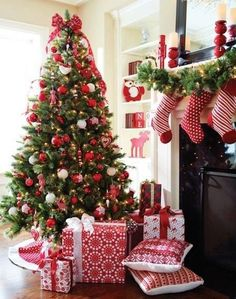 cute red and white tree perament and candy cane theme