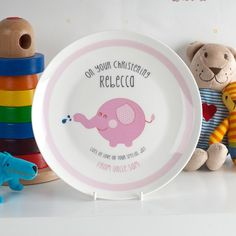 Personalised Bone China Plate - Christening Pink Elephant   Christening Gifts By GettingPersonal.co.uk