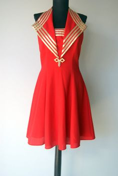 Vintage Red Nautical Inspired Dress by hipandvintage on Etsy, $25.00