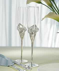 Calla Lily Toasting Flutes with Silver Plated Stem and Glass Flute
