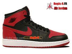 purchase cheap 94e67 0c8c5 Nike Air Jordan 1 Retro High OG GS - Chaussures Basket Jordan Pas Cher Pour  FemmeEnfant NOIRVARSITÉ ROUGE-BLANC 575441-023