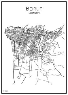 Handritad affisch över Beirut i Libanon. Här kan du beställa stadskarta över din stad och andra svenska samt utländska städer.