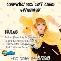 Get Your Xmas Present From Cospicky   Free100$ Gift Card Giveaway 1. Follow @cospicky & @spreepicky 2. Like & Share &Tag 3 Friends 3. End Date: Dec.10,2015 Hit The Chance Here:http://goo.gl/AFYY95 Good Luck !  Cospicky Team