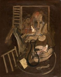 Francisco Bores, Personnage á Table, oil on canvas