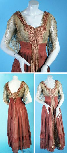 Mauve chiffon and silver silk-lined dress ca. 1910 with Arts & Crafts-inspired luminous embroidery with net lace sleeves. Back hook & eye closure. Carolyn Forbes Textiles/ebay